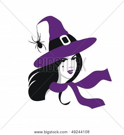 Halloween preety witch woman vector portrait
