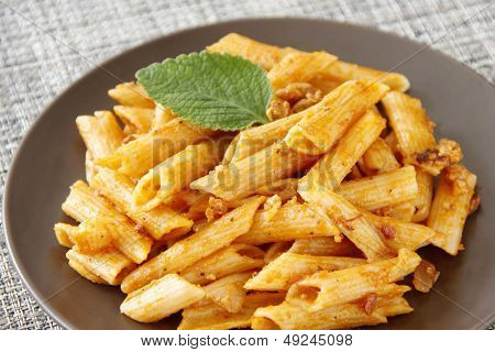 Pasta Garnish With Oregano Leaf
