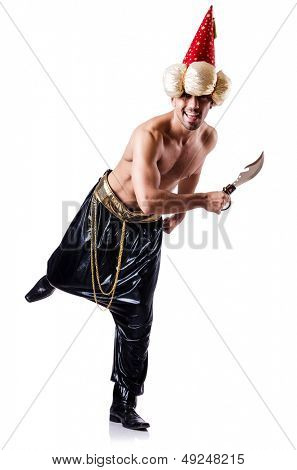Pirate with dagger isolated on the white
