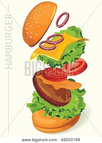 Fastfood hamburger-flying ingredients of hamburger. Vector illustration