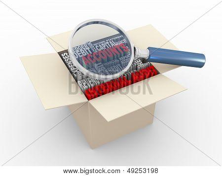 3D Magnifier And Internal Audit Wordcloud Box