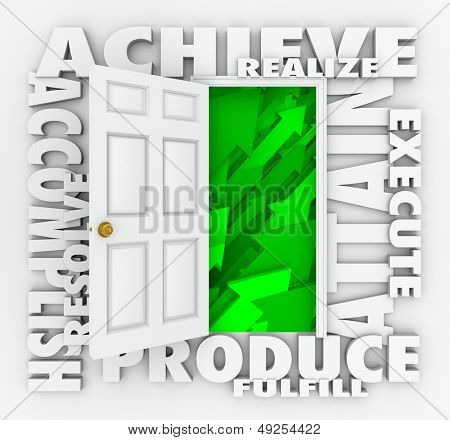 A door surrounded by words illustrating success such as Achieve, accomplish, produce, resolve, attain, realize, execute and fulfill