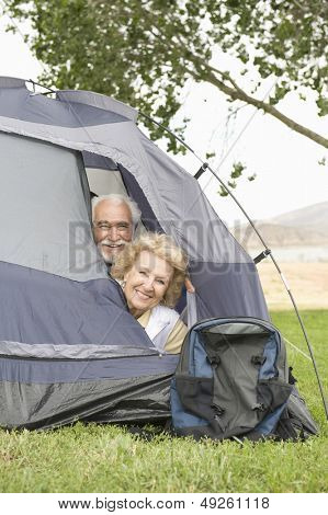 Portrait of a smiling senior couple with heads at tent flap
