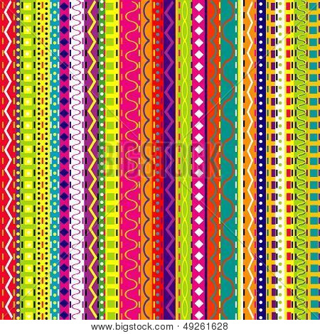 Striped Background With Doodle Elements