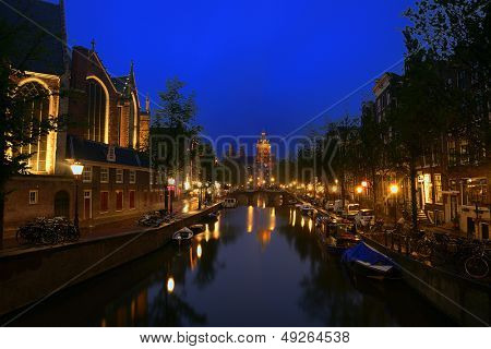 The beautiful romantic city of amsterdam by night