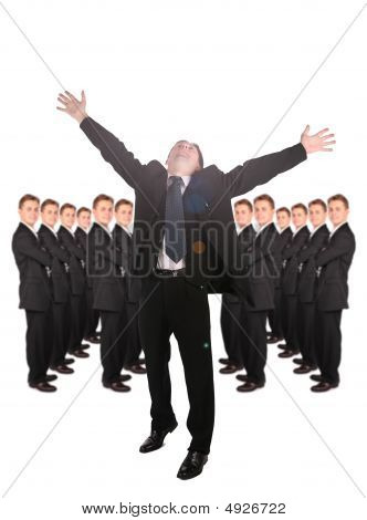 Dynamic Businessmen With Hands Up And People Background Collage