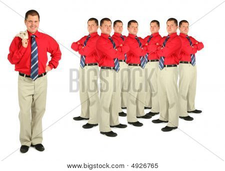Businessman In Red Shirt And Crowd Collage