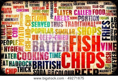 Fish and Chips British Cuisine Menu As Art