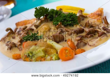 Gourmet Ragout of Fish  Dore  with Cream Sauce and chanterelle  Cantharellus cibarius