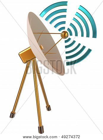 3D model of parabolic antenna as symbol