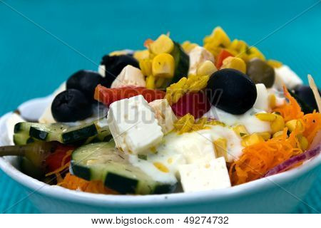 Very mixed Salad, greek Style, mediterranean, with Cheese, Tomato, Rice, Red Bell Pepper
