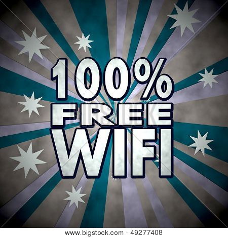 100 Percent Free Wifi Symbol  On Retro Star Background