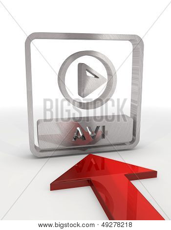 Illustration Of A Isolated Avi File Icon With Red Arrow