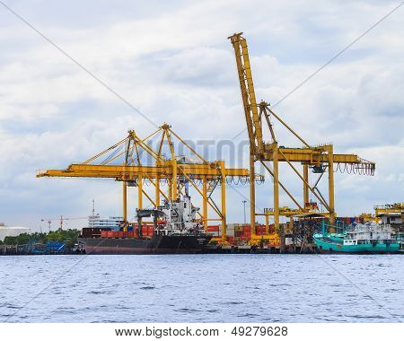 A Commercial Port With Loaded ship
