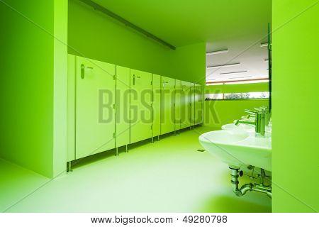 new architecture, green public bathroom