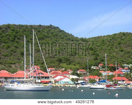 Gustavia Harbor at St Barths, French West Indies