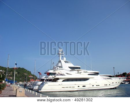 Mega yachts in Gustavia Harbor at St Barths, French West Indies
