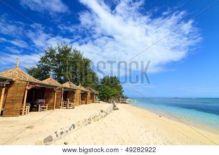 Tropical Beach Bungalow On Ocean Shore