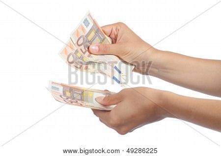 Woman Hands Holding And Counting A Lot Of Fifty Euros Banknotes