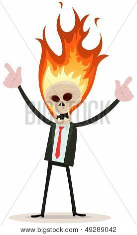 Skeleton Head Devil Businessman