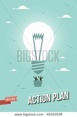 Marketing Web Action Plan Light Bulb Illustration
