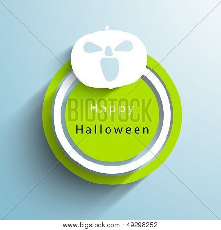 Sticker, tag or label with Halloween Pumpkin on blue background.