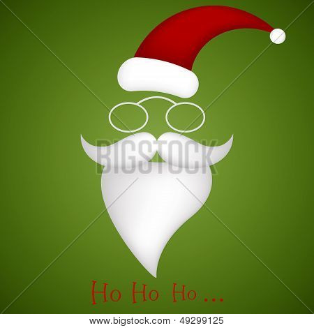 Illustration Of Santa Hat, Glasses, Mustache And Beard