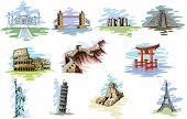 stock photo of stonehenge  - vector illustration of collection of World Famous Monument - JPG