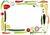image of mange-toute  - Vegetable selection forming an abstract border over white background - JPG