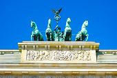 Brandenburg Gate (Brandenburger Tor), famous landmark in Berlin, Germany,rebuilt in the late 18th century as a neoclassical triumphal arch poster
