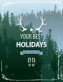 picture of coniferous forest  - Retro - JPG