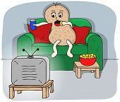 stock photo of couch potato  - vector illustration of a couch potato watching tv - JPG