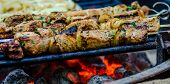 pic of kababs  - beef kababs on the grill closeup at camping site
