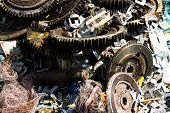 stock photo of scrap-iron  - Scrap metal and Iron in Junkyard in Thailand - JPG