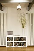 stock photo of koln  - View of lamp over vinyl records in shelf and houseplant at home - JPG