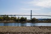 Lions Gate Bridge Viewed From Ambleside Beach
