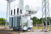 stock photo of pole  - Transformer station and the high voltage electric pole - JPG