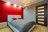 stock photo of windows doors  - Modern master bedroom interior - JPG