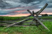 stock photo of split rail fence  - Split Rail Sunrise - Rural Sharpsburg, Maryland USA