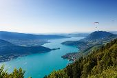 stock photo of annecy  - View of the Annecy lake from Col du Forclaz - JPG