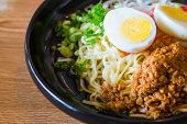 stock photo of egg noodles  - noodle with spicy ground pork sauce japanese food style - JPG