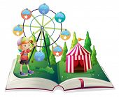 stock photo of storybook  - Illustration of an open storybook with a carnival and a young boy on a white background - JPG