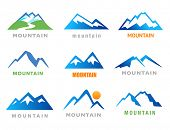 stock photo of mountain-high  - Mountains Icons - JPG