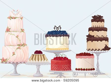 Vector fancy cakes collection over blue background. Cakes are on separate layer