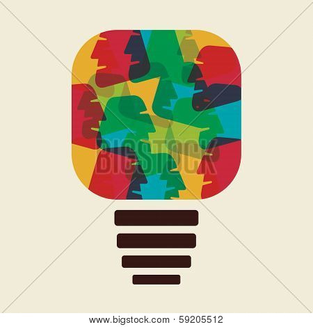colorful face make bulb shape