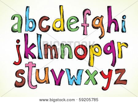 Colorful hand drawn illustration with the full set of the letters of the alphabet in lower case isolated on white - raster version of vector illustration