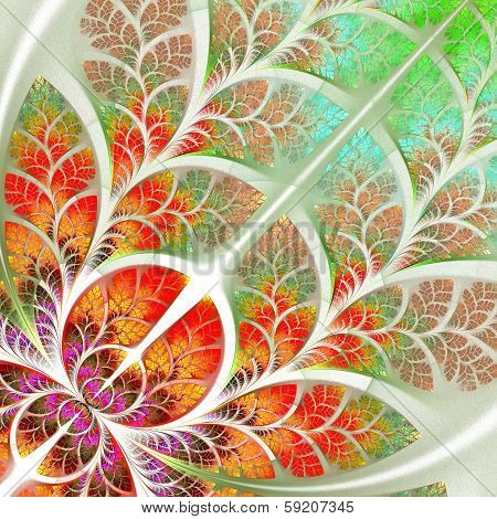 Multicolor Fabulous Fractal Pattern. Tree Foliage.