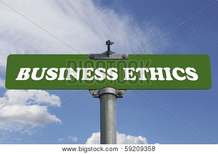 Business ethics road sign