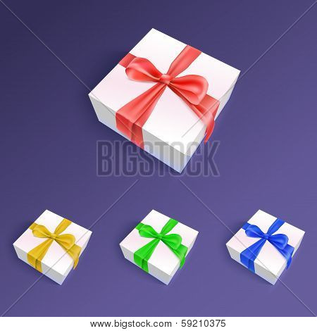 Gift boxes with ribbons and bows in different colors