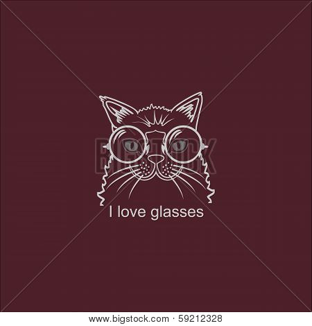 Vector Portrait Cat in Big Glasses